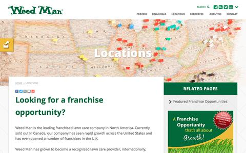 Screenshot of Locations Page weedmanfranchise.com - Franchise Locations   Weed Man USA Lawn Care - captured Nov. 29, 2016