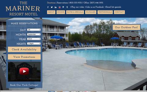 Screenshot of Home Page marinerresort.com - Mariner Resort Motel | Ogunquit Maine Beach Vacations - captured Sept. 30, 2014