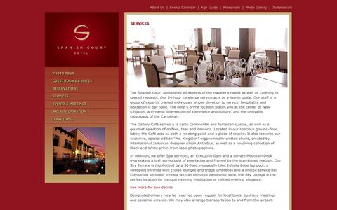 Screenshot of Services Page spanishcourthotel.com - Services | Spanish Court Hotel - captured Oct. 6, 2014