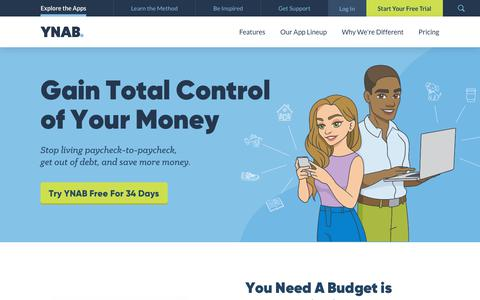 Screenshot of Home Page youneedabudget.com - YNAB. Personal Budgeting Software for Windows, Mac, iOS and Android - captured April 13, 2019