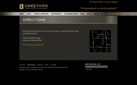Screenshot of Maps & Directions Page langetwins.com - Directions - LangeTwins Family Winery and Vineyards - A Tradition of Sustainable Winegrowing - captured Oct. 1, 2014