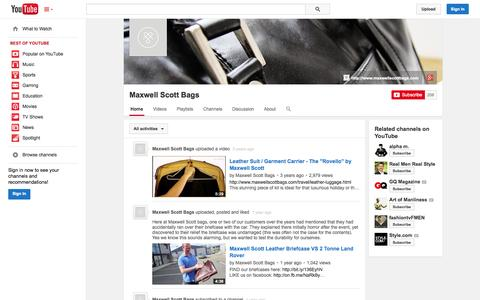 Screenshot of YouTube Page youtube.com - Maxwell Scott Bags  - YouTube - captured Oct. 27, 2014