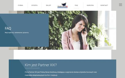 Screenshot of FAQ Page partner21.pl - FAQ - Partner21 - captured Oct. 22, 2016