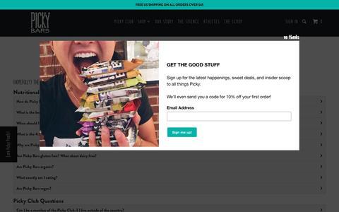 Screenshot of FAQ Page pickybars.com - Customer Service & FAQ - Picky Bars - captured Aug. 2, 2017