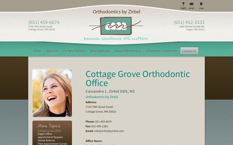 Screenshot of Contact Page Maps & Directions Page orthobyzirbel.com - Cottage Grove MN Orthodontist | Orthodontics by Zirbel - captured April 24, 2017