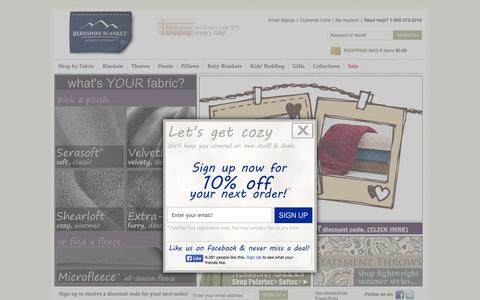 Screenshot of Home Page berkshireblanket.com - Shop Berkshire Blanket for the best Plush Warm or Soft Light-Weight Luxury Throws and Bed Blankets and Sheets, all 100% quality guaranteed. - captured Sept. 19, 2014