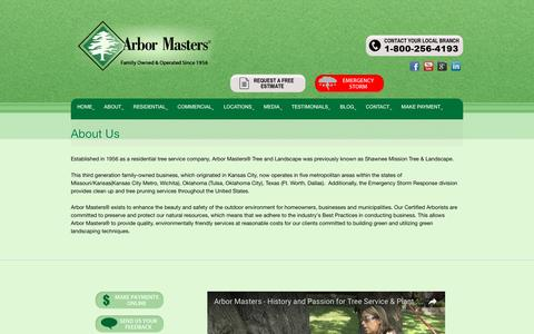 Screenshot of About Page arbormasters.com - About Arbor Masters Certified Aborists Tree Services - captured Sept. 8, 2016