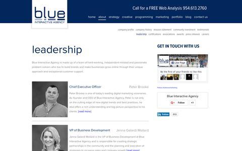 Screenshot of Team Page blueinteractiveagency.com - Leadership - Blue Interactive Agency - captured Jan. 6, 2016