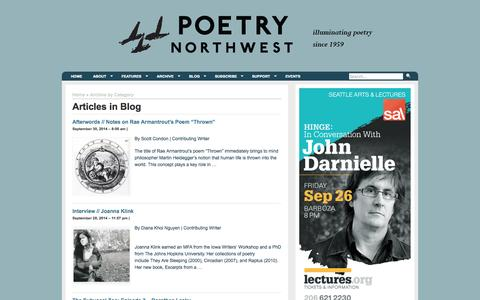 Screenshot of Blog poetrynw.org - Poetry Northwest | Category Archive | Blog - captured Oct. 2, 2014
