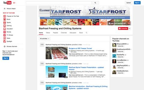 Screenshot of YouTube Page youtube.com - Starfrost Freezing and Chilling Systems  - YouTube - captured Nov. 5, 2014