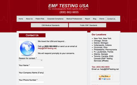 Screenshot of Contact Page emftesting.net - Contact Us | EMF Testing USA - captured Oct. 4, 2014