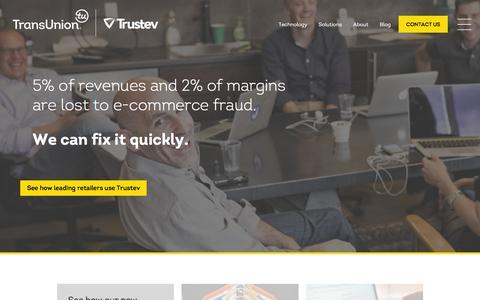 Screenshot of Home Page trustev.com - TransUnion | Trustev -- Increase e-commerce revenues, stop fraud - captured Feb. 19, 2016