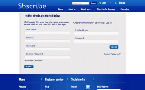 Screenshot of Signup Page Login Page sbscri.be - Sbscri.be- The Subscription Box Marketplace - captured Oct. 22, 2014