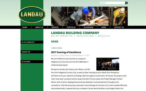 Screenshot of Press Page landau-bldg.com - Landau Building Company - captured July 14, 2017