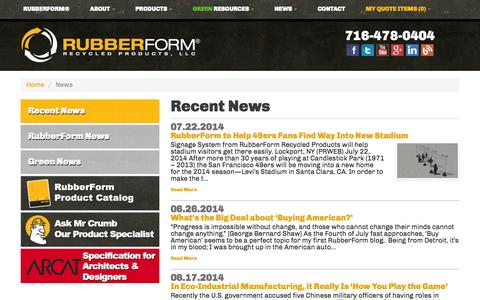 Screenshot of Press Page rubberform.com - News | RubberForm Recycled Products, LLC - captured Oct. 10, 2014