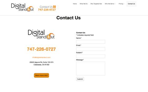 Screenshot of Contact Page digitalstandout.com - Digital Standout | Contact Us - captured Sept. 30, 2014