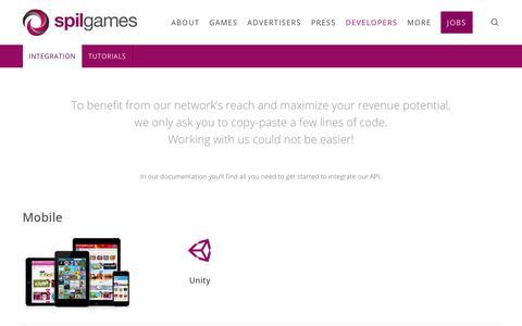 Screenshot of Developers Page spilgames.com - Integration - Spil Games - captured July 13, 2018