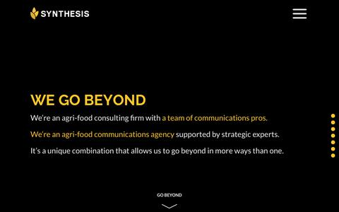 Screenshot of Home Page synthesis-network.com - Synthesis Agrifood Network – We go beyond - captured May 29, 2019