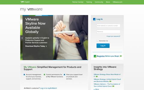 Screenshot of Login Page vmware.com - My VMware - Get Personalized Support Quickly and Easily | VMware Support - captured Nov. 18, 2018