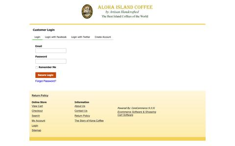 Screenshot of Login Page corecommerce.com - Customer Login - captured Oct. 31, 2018