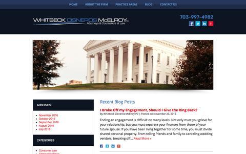 Screenshot of Blog whitbecklegal.com - Blog | Whitbeck Cisneros McElroy PC - captured Nov. 29, 2016