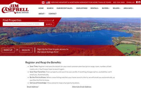 Screenshot of Signup Page jimcampbellrealestate.com - Jim Campbell Real Estate - captured Oct. 16, 2017