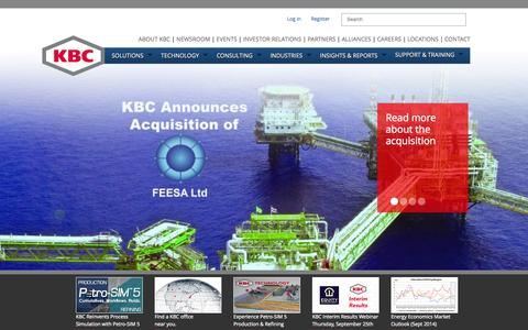 Screenshot of Home Page kbcat.com - Process and Pipeline Simulation Software, Oil and Gas Consulting - captured Oct. 6, 2014