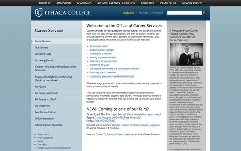 Screenshot of Jobs Page ithaca.edu - Career Services - Ithaca College - captured Oct. 15, 2017