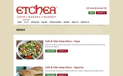 Screenshot of Menu Page etcheabakery.com - Cafe Los Angeles | Bakery Los Angeles | Restaurants | MENUS - captured Nov. 2, 2014