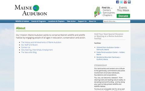 Screenshot of About Page maineaudubon.org - About - Maine AudubonMaine Audubon - captured Sept. 30, 2014