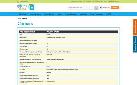 Screenshot of Jobs Page giftzone.co.in - Careers - captured Nov. 7, 2016