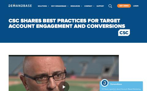 Screenshot of Case Studies Page demandbase.com - CSC Shares Best Practices for Target Account Engagement - captured Nov. 6, 2019