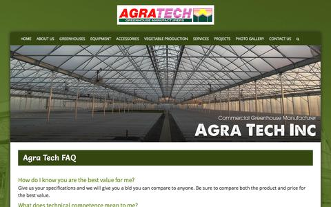 Screenshot of FAQ Page agratech.com - Commercial Greenhouse Manufacturer | Metal Structure | Vegetable - captured Feb. 2, 2018
