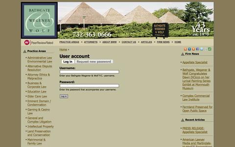 Screenshot of Login Page bathweg.com - User account | Bathgate Wegener & Wolf P.C. - captured Oct. 5, 2014