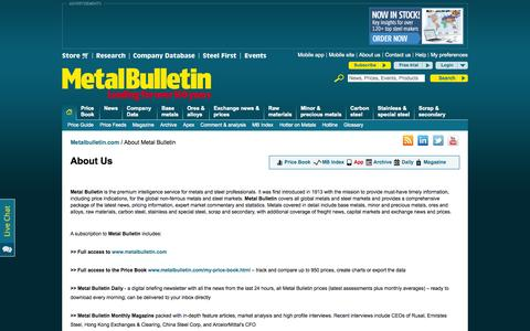 Screenshot of About Page metalbulletin.com - Leading source of steel and metal news and metal prices   Metal Bulletin - captured Oct. 31, 2015