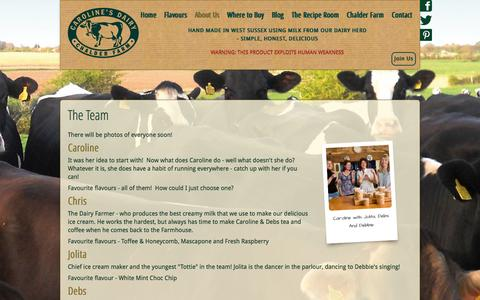 Screenshot of Team Page carolinesdairy.co.uk - The Team - Caroline's Dairy Ice Creams & Sorbets West Sussex - captured Sept. 29, 2014