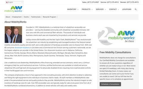 Screenshot of About Page mobilityworks.com - About MobilityWorks | MobilityWorks - captured Sept. 20, 2019