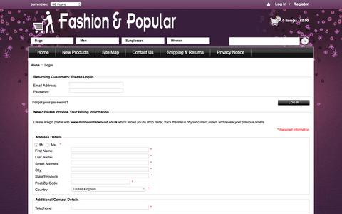Screenshot of Login Page milliondollarwound.co.uk - Login : New shoes arrival, Leather Boat Shoes, various brands of sports shoes, super-type boots, leather shoes, girls high heels, sandals, sneakers, SITE_TAGLINE - captured May 24, 2016