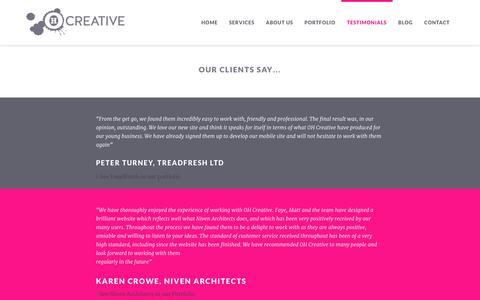Screenshot of Testimonials Page ohcreative.co.uk - OH Creative Testimonials - captured Nov. 5, 2014