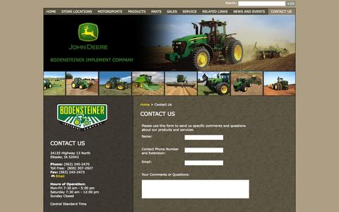 Screenshot of Contact Page bodimp.com - Bodensteiner Implement Company - Contact Us - captured Oct. 27, 2014