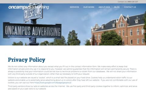 Screenshot of Privacy Page oncampusadvertising.com - Privacy Policy - OnCampus Advertising   OnCampus Advertising - captured Oct. 20, 2018