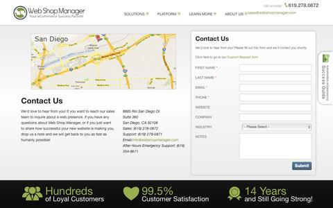 Screenshot of Contact Page webshopmanager.com - Web Shop Manager - Contact Information - captured Oct. 26, 2014