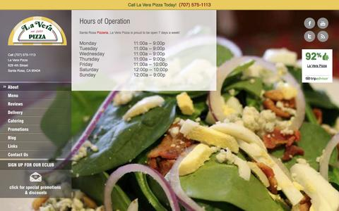 Screenshot of Hours Page laverapizza.com - Hours of Operation - La Vera Pizza - captured Sept. 26, 2014