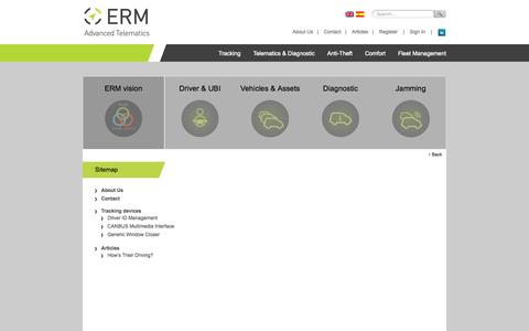 Screenshot of Site Map Page ermtelematics.com - Site Map   Erm Telematics - captured Sept. 19, 2014