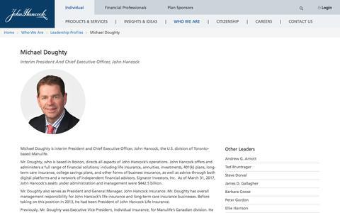 Screenshot of Team Page johnhancock.com - John Hancock | Michael Doughty - captured June 23, 2017