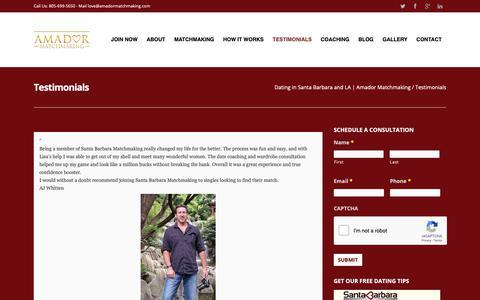 Screenshot of Testimonials Page santabarbaramatchmaking.com - Testimonials - Dating : Coaching : Matchmaking : 805-699-5650 - captured Nov. 6, 2018