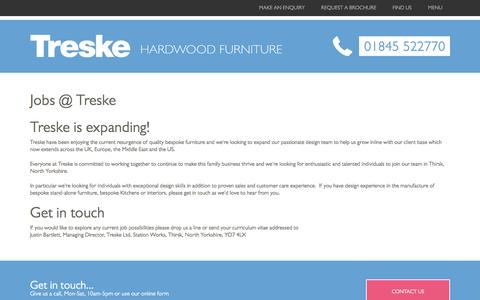 Screenshot of Jobs Page treske.co.uk - Jobs at Treske Furniture - captured Feb. 25, 2016
