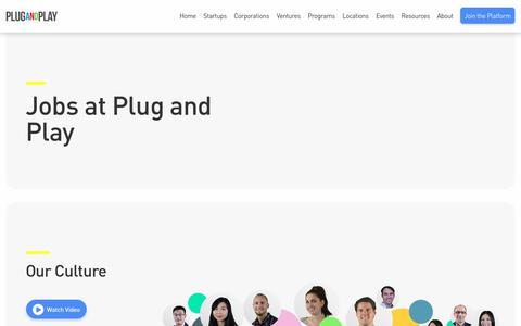 Screenshot of Jobs Page plugandplaytechcenter.com - Plug and Play Careers & Jobs                                                                - Plug and Play Tech Center - captured July 19, 2018