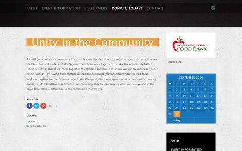 Screenshot of About Page faith-fest.com - About Us   Faith Fest - captured Oct. 1, 2014