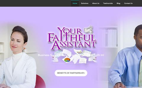Screenshot of Home Page yourfaithfulassistant.com - U.S. Based Virtual Assistance and Business Support for Busy Leaders - captured Sept. 5, 2015
